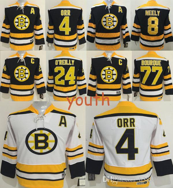 boston bruins 4 bobby orr black throwback ccm kids jersey  best youth  boston bruins throwback hockey jersey 8 cam neely 4 bobby orr 77 ray bourque 1072de757