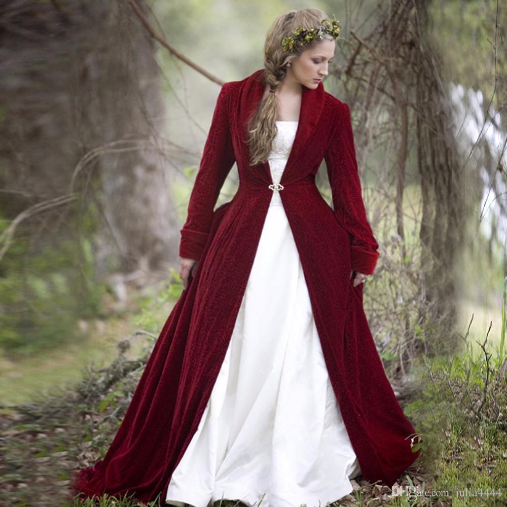 2019 Inverno Natale Ball Gown Abiti da sposa Mantelli Borgogna Velluto a maniche lunghe Fiori vintage gothich Abiti da sposa con cappotto giacca