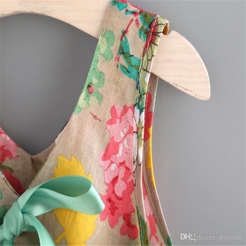 2017 vestiti del bambino ragazze floreale serbatoio canotte + pantaloncini abbigliamento set abiti della ragazza bambini tuta bambini estate boutique vestiti