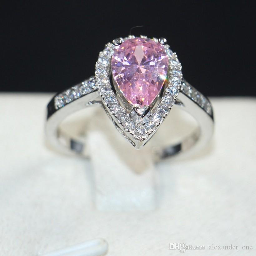 2018 bohemian jewelry delicate pear shaped pink diamond ring finger 2018 bohemian jewelry delicate pear shaped pink diamond ring finger fashion 10kt white gold filled wedding bride rings for women gift from alexanderone junglespirit Choice Image