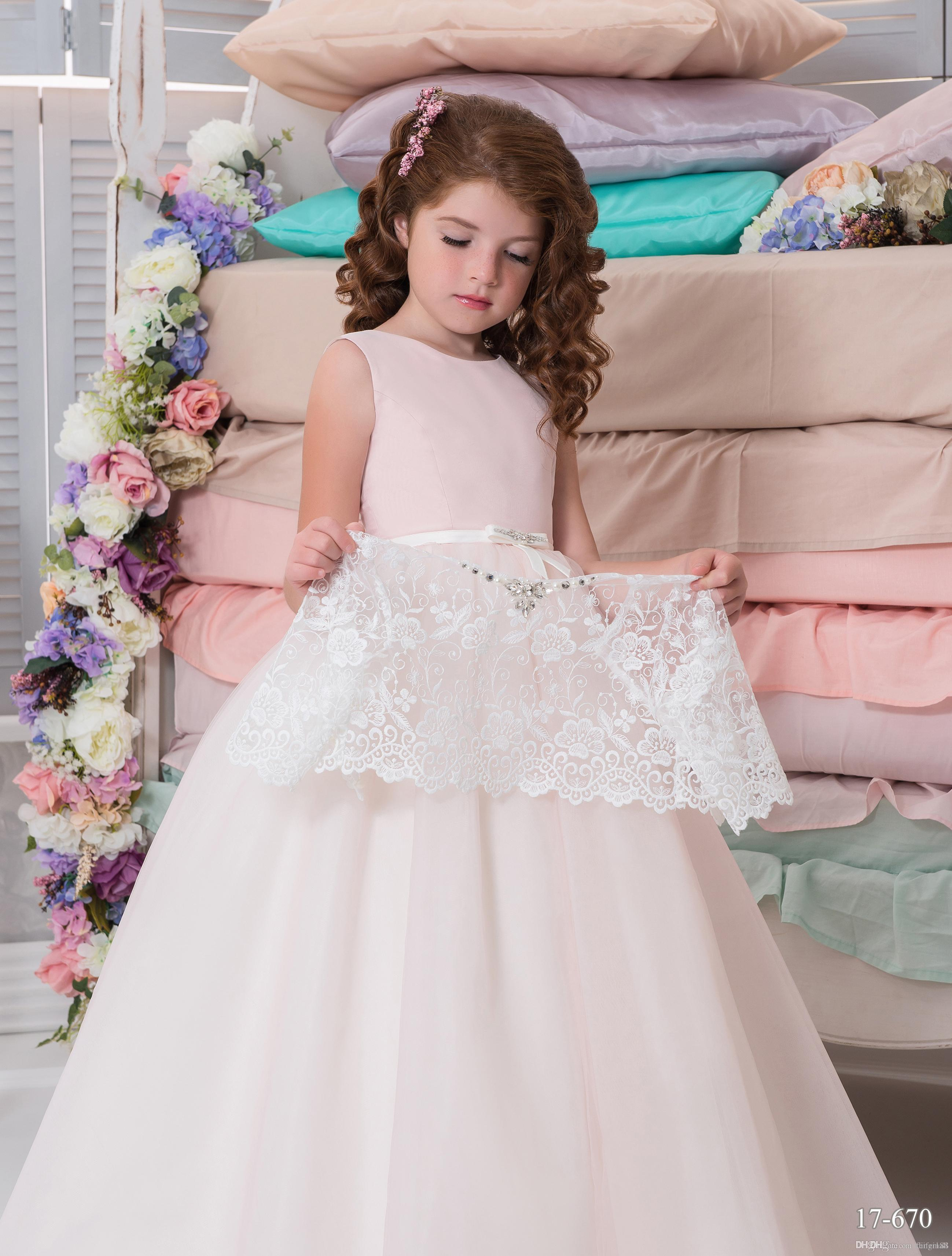 Two Pieces Arabic 2017 Lace Flower Girl Dresses Vintage Child Dresses  Beautiful Flower Girl Wedding Dresses Little Girl Flower Girl Dresses  Little Girl ...