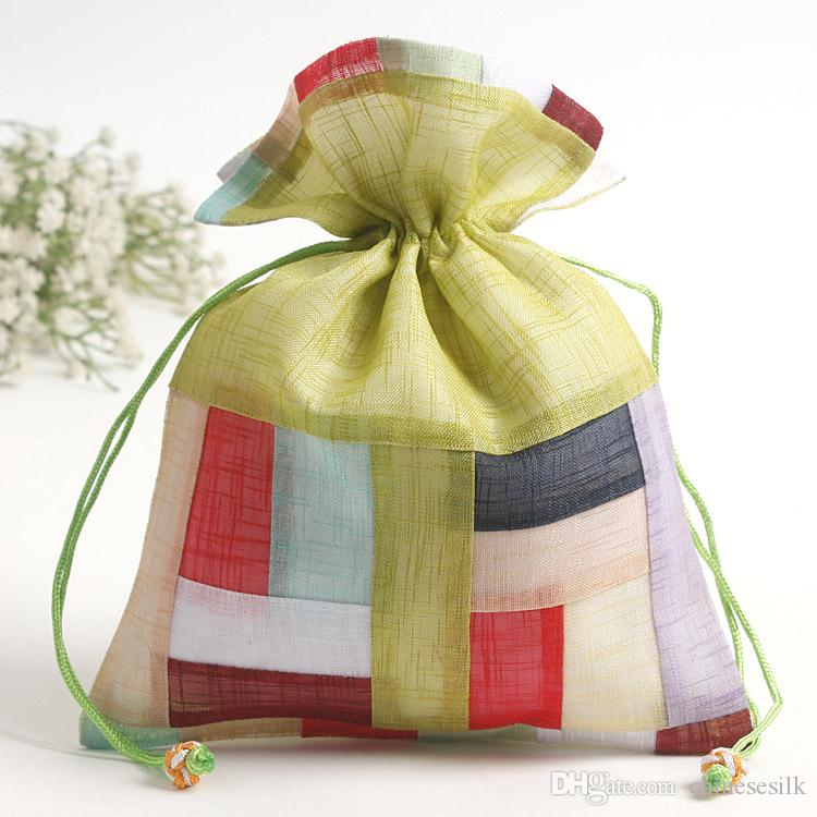 Fresh Large Stripe Cloth Packaging Bags Drawstring Jewelry Trinket Cosmetic Tools Gift Pouch Dried flowers Candy Tea Storage Pocket Sachet