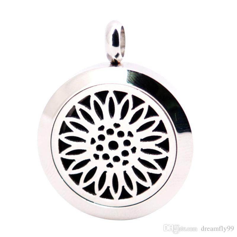 Sun Flower 25mm Diffuser 316 Stainless Steel Necklace Pendant Aroma Locket Essential Oil Diffuser Lockets Send Oils Pads As Gifts