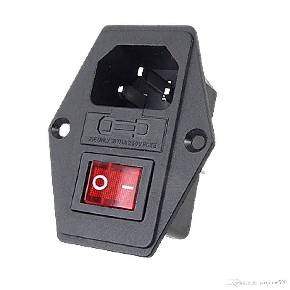 입구 모듈 3 핀 남성 전원 커넥터 소켓 플러그 퓨즈 스위치 포함 IEC320 C14 산업 제어용 적색 / 녹색