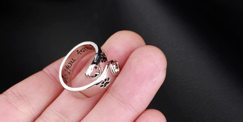 Dog Paw Print I will love you forever Heart Love Ring Adjustable Finger rings for Women Best Friend Pet Jewelry Drop Shipping