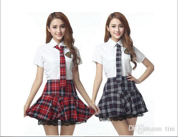 School Girl Halloween Costume College.Brand New Japanese Sweet Girl High College School Jk Uniform Sailor Shirt Plaid Skirt Cosplay Costume Full Set Drop Shipping