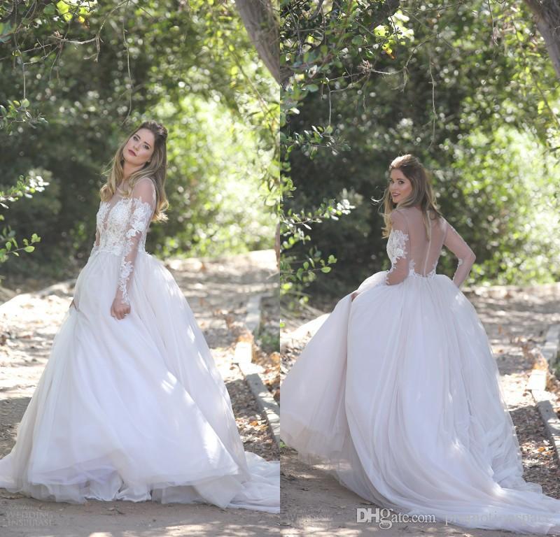 Erin Cole Fall 2017 Wedding Dresses Sheer Long Sleeves Appliqed ...