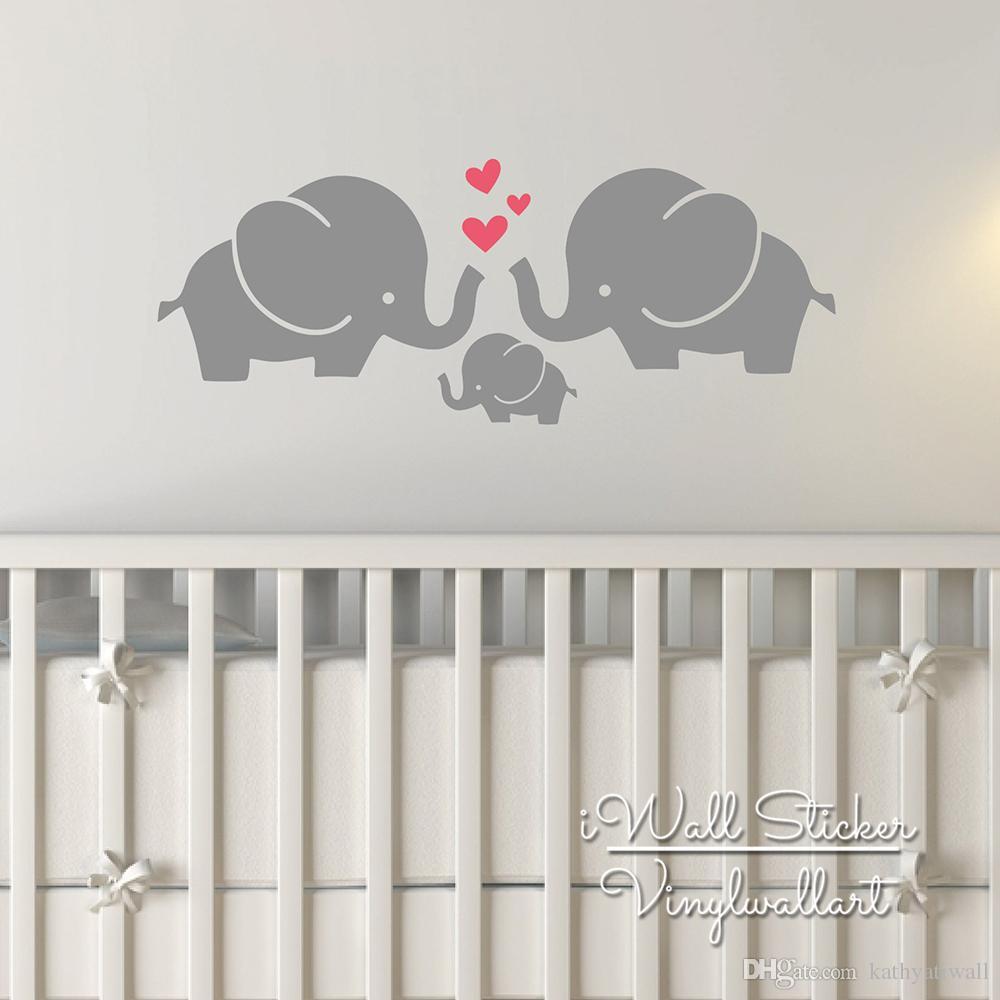 56x22cm Elephant Wall Sticker Baby Nursery Elephant Wall Decal Diy