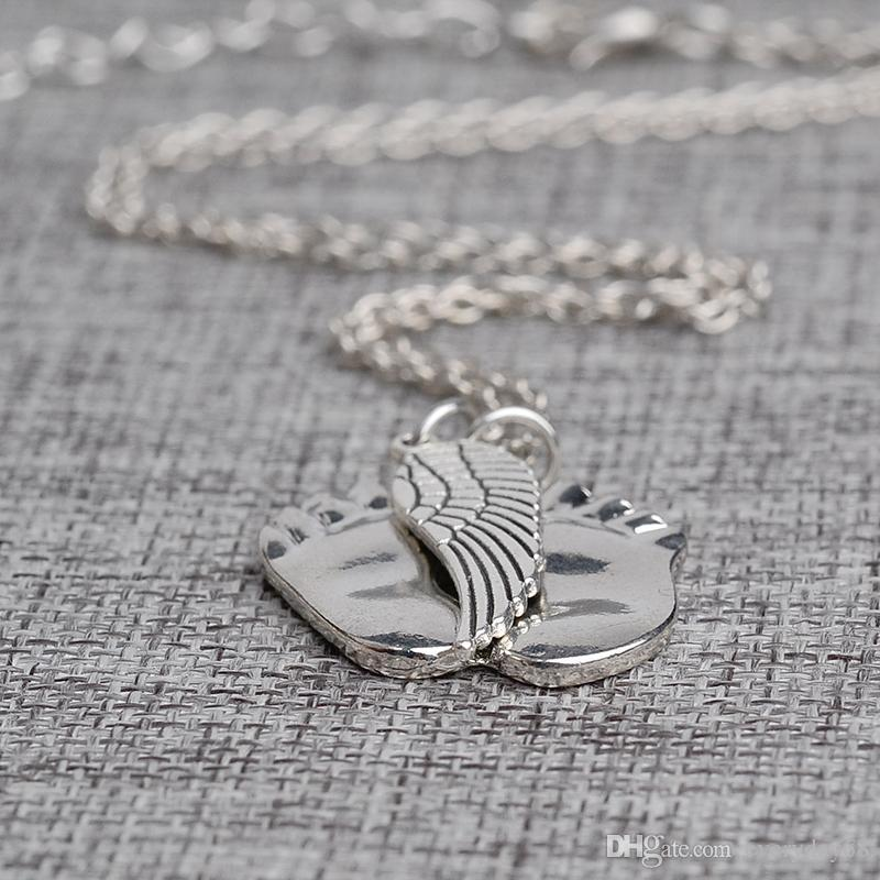 cute little feet angle wing double Pendants necklaces 925 sterling silver Love baby Necklace best chrismas gift for your child
