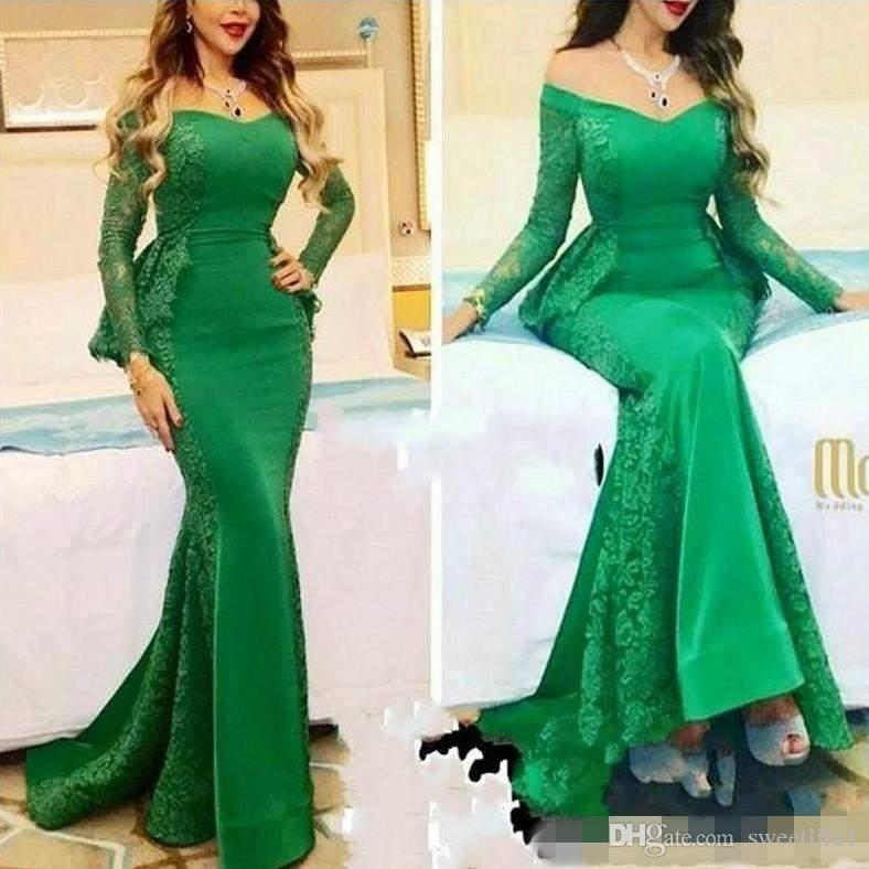 2019 New Arrival Green Lace Mermaid Saudi Arabia Evening Dresses Elegant Long Sleeve Peplum V Neck Formal Party Dress Floor Length Prom Gow