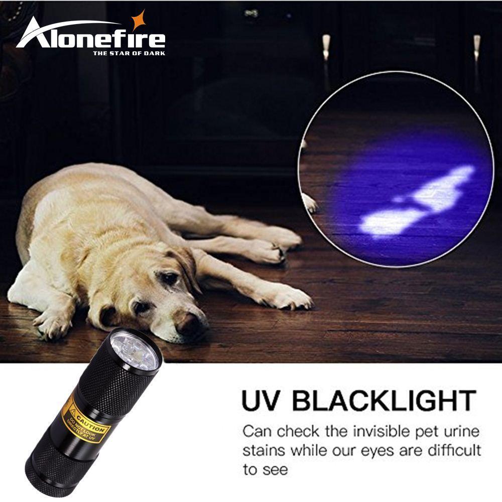 AloneFire 9 LED UV Light 395-400nm LED UV Torcia UV rilevatore di perdite