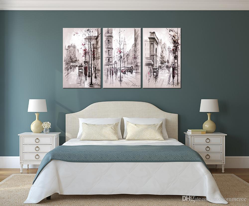 Home decor paintings - 2017 Unframe Home Decor Paintings Retro City Street Landscape Modular Pictures On The Wall Canvas Art Prints For Loft Decoration From Utocommerce