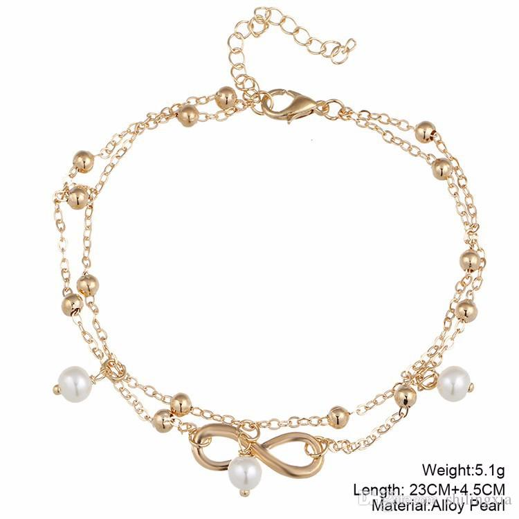 New Bohemian beach bikini Women foot anklet chain jewelry gift Bracelets Silver Plated pearl Foot Chain Anklets new