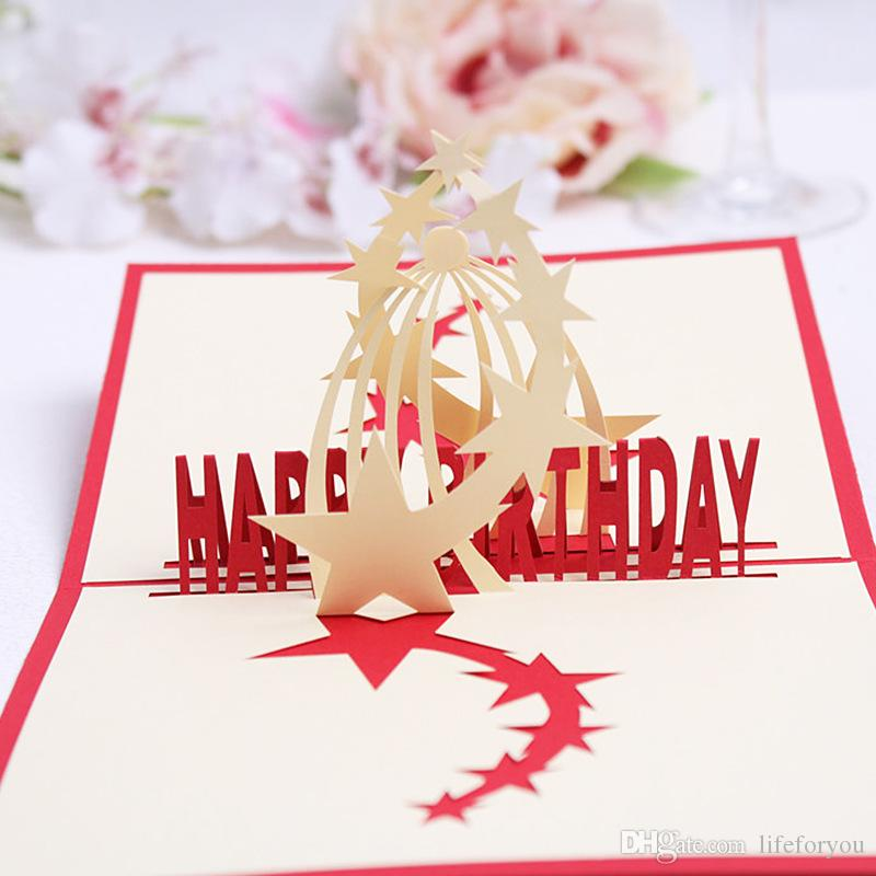 4-Styles Packed birthday party supplies birthday gift greeting cards kids party favors 3D birthday pop up cards greeting card