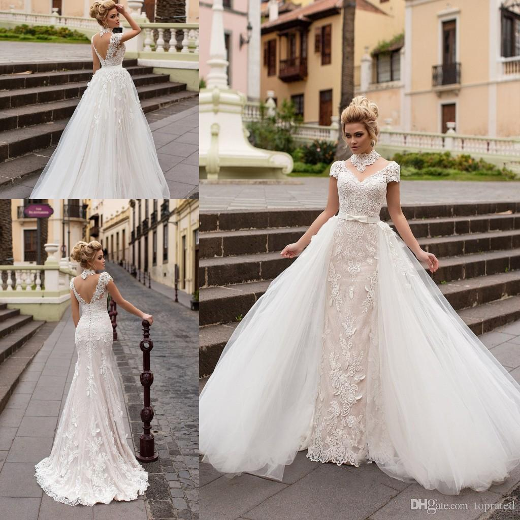 Discount Short Sleeves Wedding Dresses With Removable Skirt Gowns 2017 Full Lace High Neck Cap Backless Vintage Bridal Dress Straight Line: Short Full Skirt Wedding Dress At Reisefeber.org