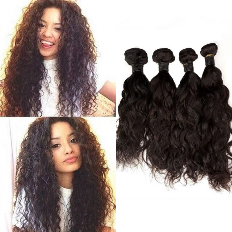 4pcs Malaysian Hair Bundles Natural Color Water Wave Human Hair Extensions 4-30 inch Double Drawn Hair Weft FDSHINE