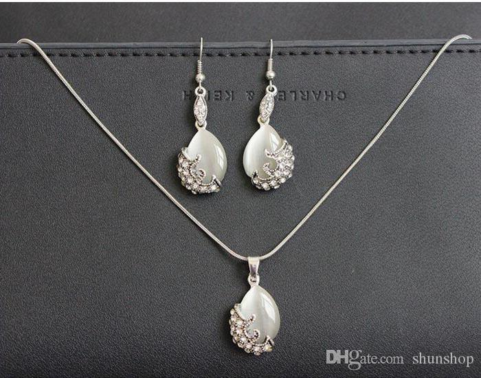 Silver Color Opal Pendant Necklace for Party crystal Necklace and Earrings Jewelry Sets for Party Free ship