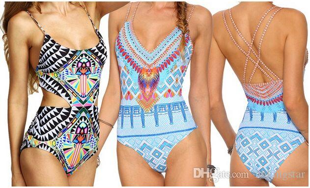 ad3350c3b7475 2019 Sexy Women Aztec One Piece Swimsuit Totem Pattern Backless Bikini  Triangle Push Up Print Swimwear Bathing Suit From Nbkingstar