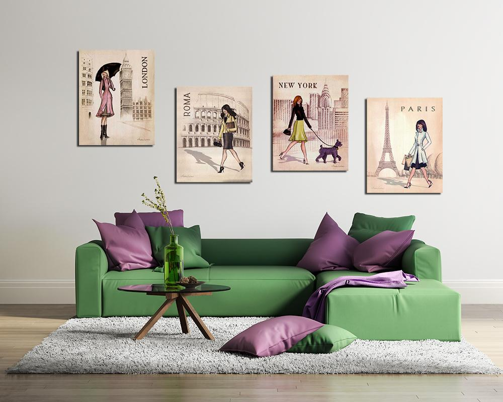 2018 4 Panels Paris, London, Roma And New York Set Canvas Painting Home  Decor Canvas Wall Art Picture Digital Art Print For Room Wall From Utoart,  ...