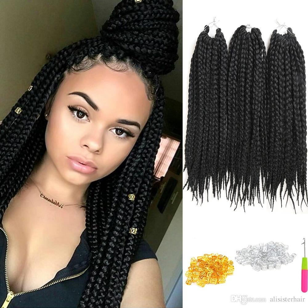 2018 6 Pack Crochet Hair Extensions Box Braids 18inch Re