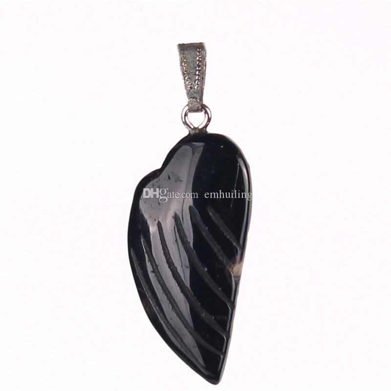 Mixed Angel Fairy Wings Charm Pendant Opal Black Onyx Sand Stone for Necklace Jewelry Making DIY Handmade Craft Women Feather Custom Pendant