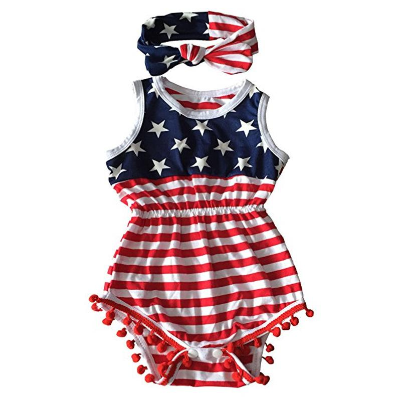 9a319f02bd4 2019 Baby Girl 4th Of July Outfits Independence Day Summer Romper Newborn  Girl 4th Of July Baby July 4th Outfit Set Star Print Jumpsuit From Yunrao