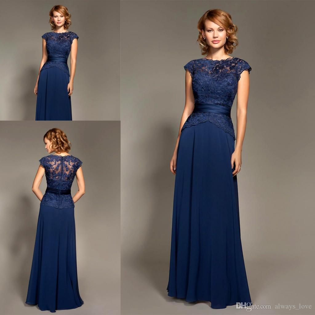 Mark Lesley Dark Navy Blue Bridesmaid Dress Chiffon Long Formal Maid