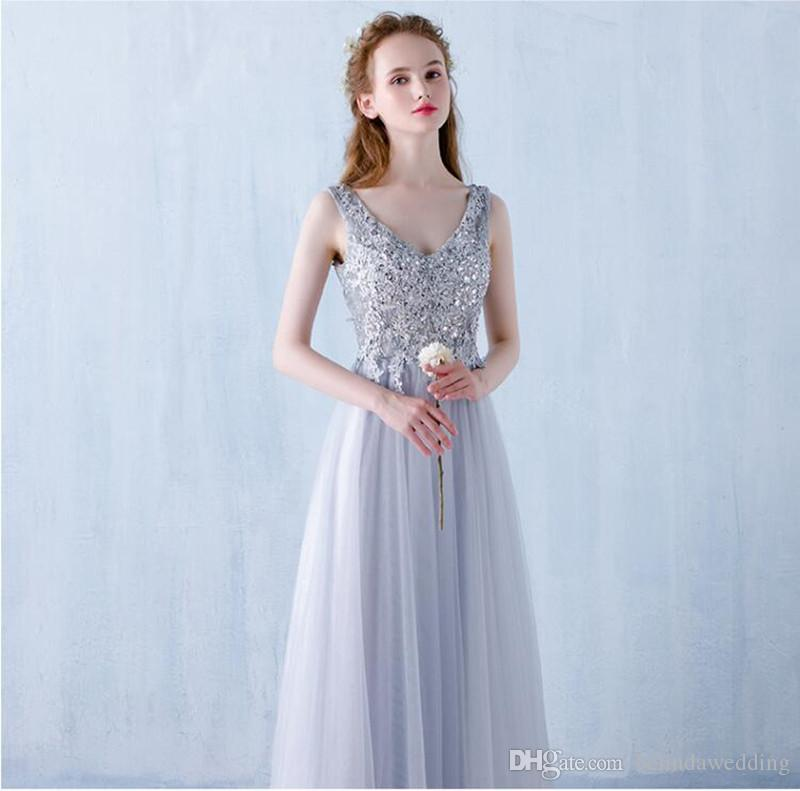 Sweety Silver Dresses Evening Wear A Line Prom Dresses Long Beaded ...