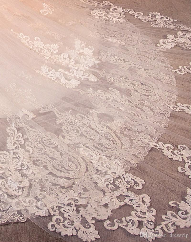 Full Applique Cathedral Veils Long Wedding Veils Beads 3 Meters Two Layers Luxury Dubai Arabic Bridal Veil Bridal Accessories