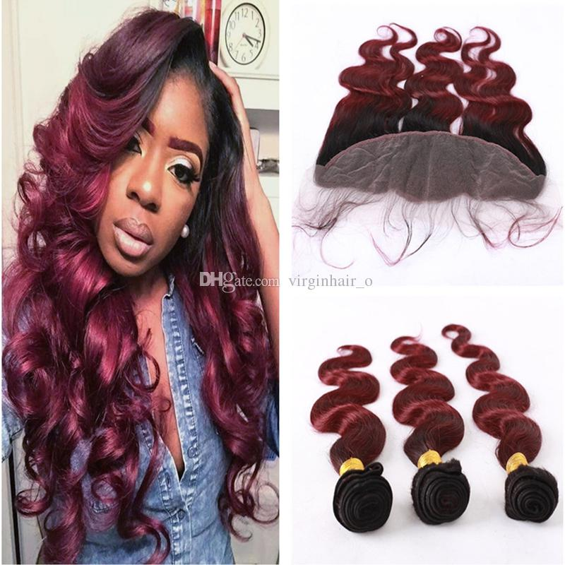 Burgundy Ombre Hair With Frontal Closure 1b 99j Wine Red Dark Root