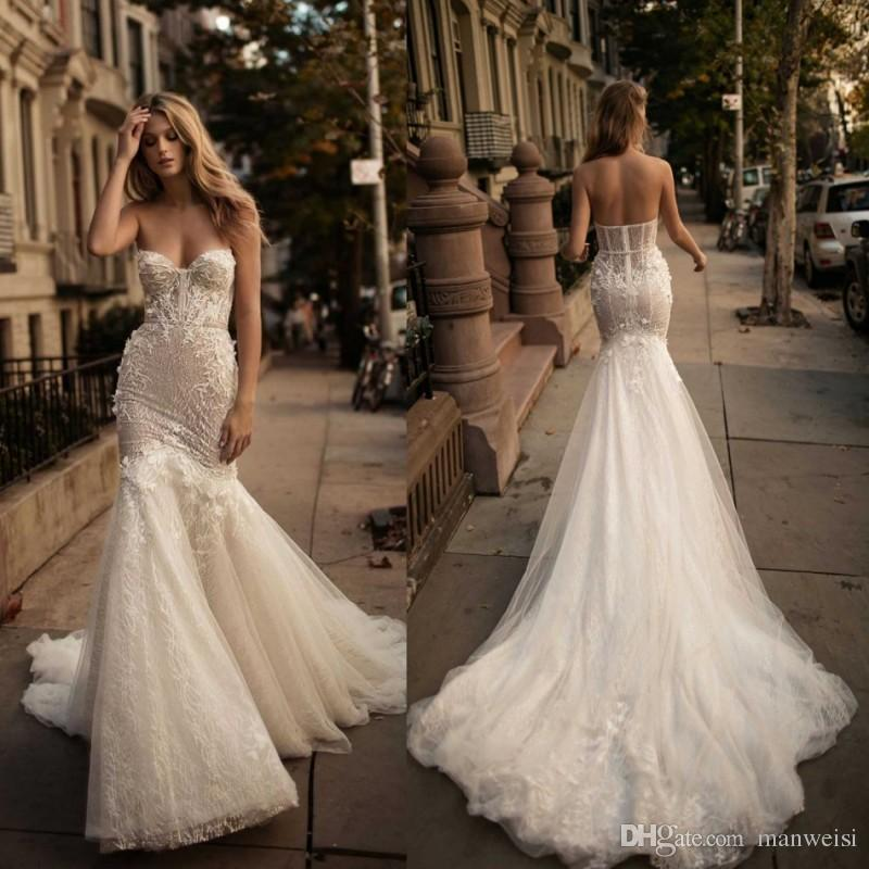 Fishtail Wedding Gowns: Berta 2017 Mermaid Backless Wedding Dresses Crystal 3d