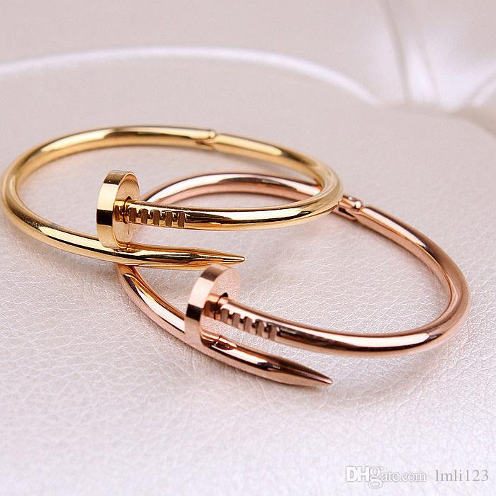 Big Brand Top quality Gold/Rose Gold /Silver Nail Bangle for women inlaid falsh zircon Girlfriend gift