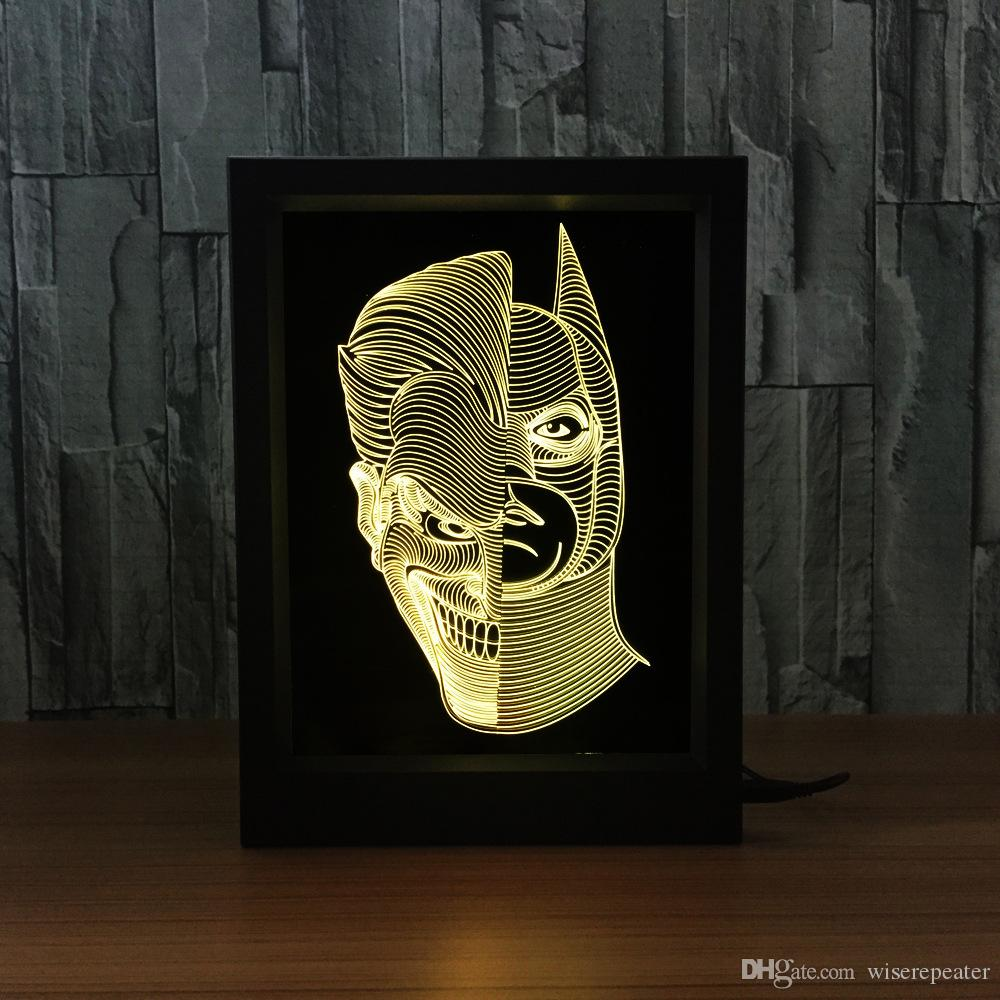 Jack Batman 3D Lampada LED Photo Frame Decorazione Lampada IR Remote 7 RGB Luci DC 5V Factory Drop Shipping Confezione regalo