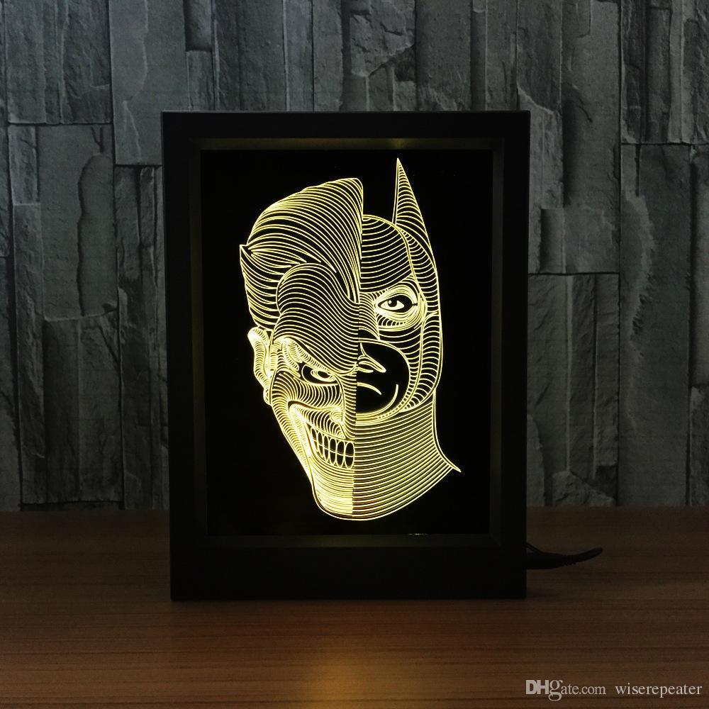 Jack Batman Lámpara 3D Marco de fotos LED Decoración de la lámpara IR remoto 7 luces RGB DC 5V Fábrica Color de envío directo Caja de regalo