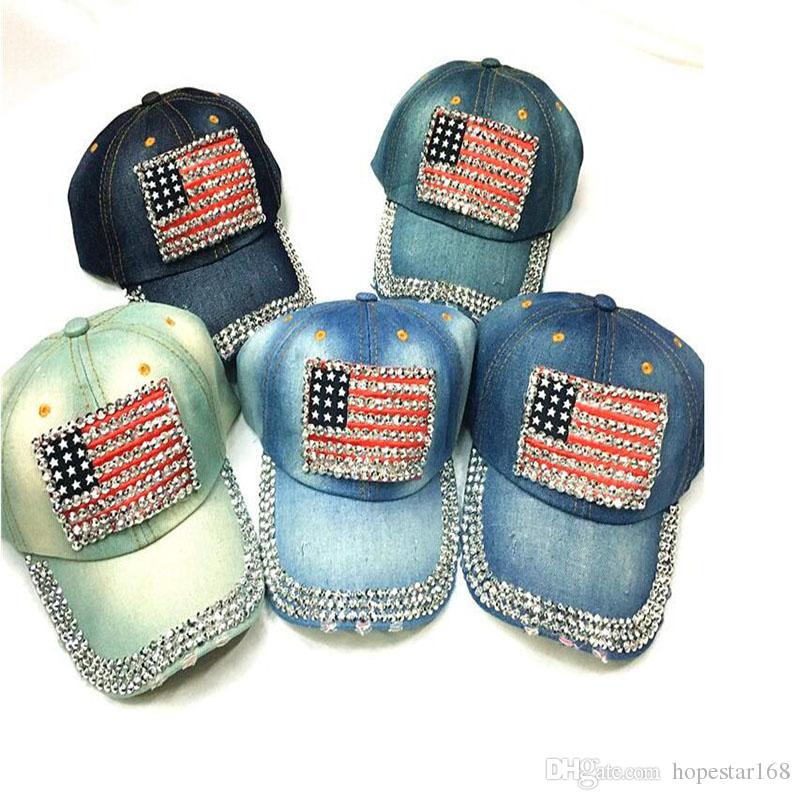 Denim Diamond Usa Nation Flag Design Jean Baseball Cap Hip Hop Hat Hats Adjustable Fashion Caps Curved Personalized Birthday