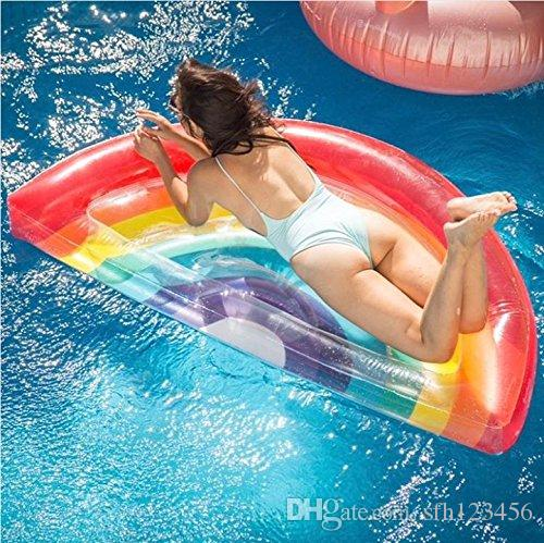 2018 Giant Inflatable Rainbow Swimming Pool Float Raft. Jumbo Colorful  Summer Pool Float For Adults U0026 Kids Outdoor Pool Large Flotie Lounge Party  From ...