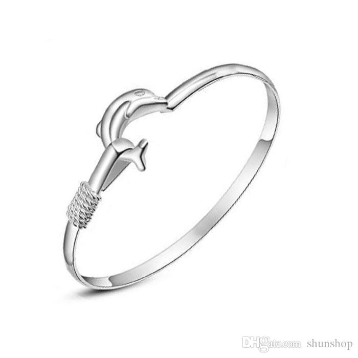 Braccialetto del polsino del braccialetto del delfino del braccialetto del delfino del braccialetto delle signore dell'ufficio di modo. Argento placcato Vendita calda Trasporto di goccia