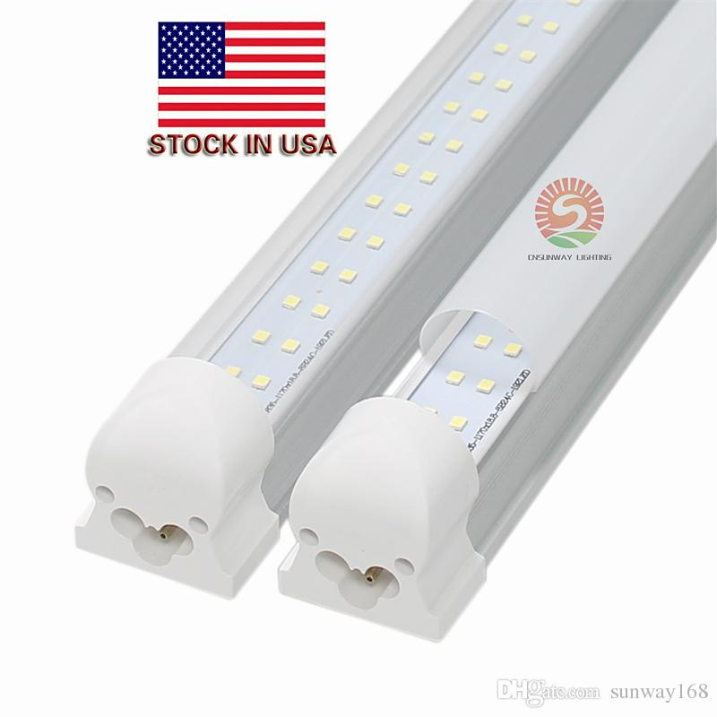 Double Row Integrated Led Lights T8 4ft 28w 8ft 72w Smd2835 100lm W Fluorescent Light Fixture Fedex Ul