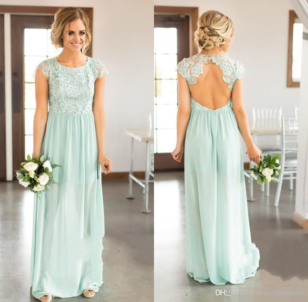 Ice blue bridesmaid dresses lace top country wedding guest party ice blue bridesmaid dresses lace top country wedding guest party gowns long beach boho prom dress chiffon backless open back 2017 plus size lace wedding ombrellifo Image collections