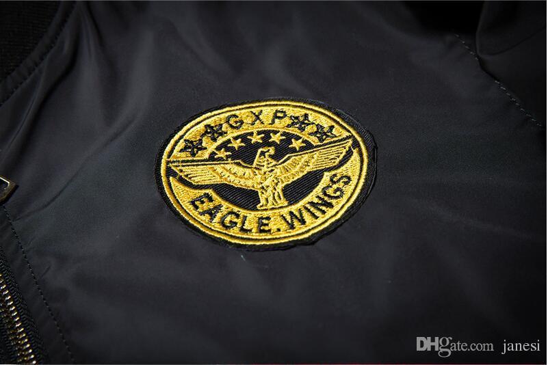 2017 Nueva Primavera Negro Angel Wing Embroidery Bomber Jacket Hombres streetwear hip hop MA1 chaqueta de béisbol