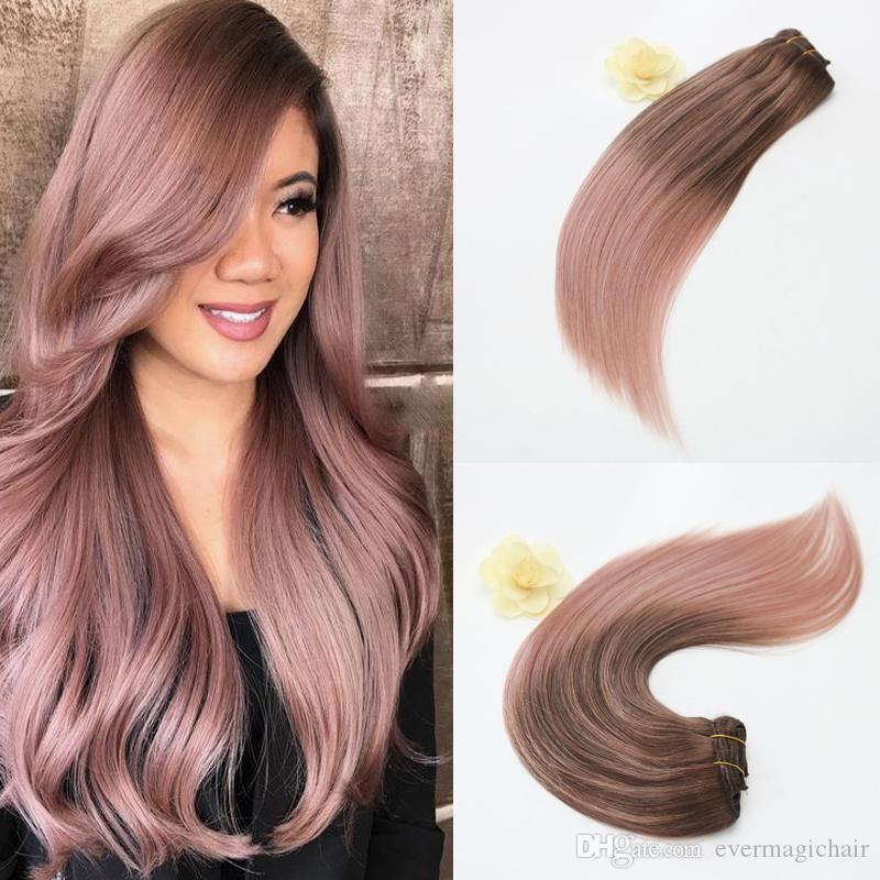 14 24inch 100g Full Set Clip In Hair Extensions Ombre Balayage Human