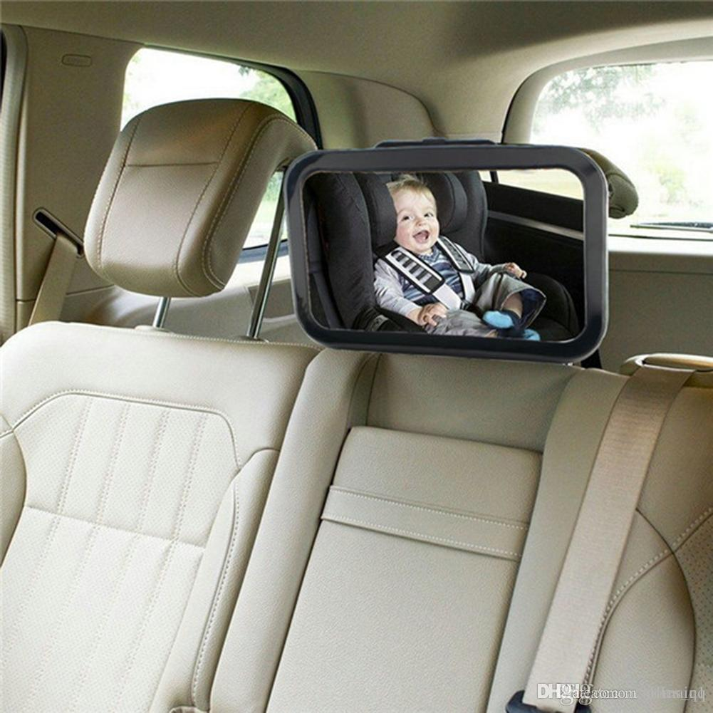 Adjustable Car Back Seat Mirror Baby Facing Rear Ward View Headrest Mount Square Safety Kids Monitor Colorful Bag