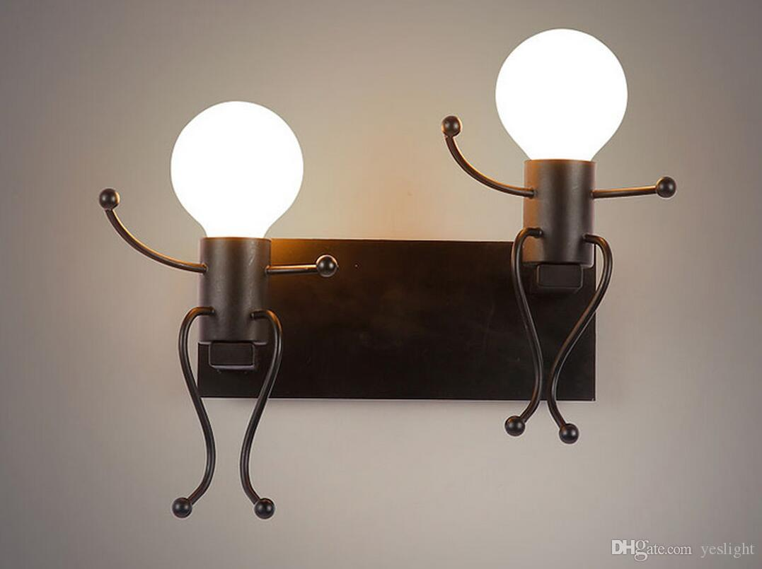 2017 Iron Human Form Wall Lamp Modern Simple Living Room Bedroom Bedside  Lamp Led Creative Cartoon Children Iron Lights Hallway Indoor Wall Lamp  From ... Part 87