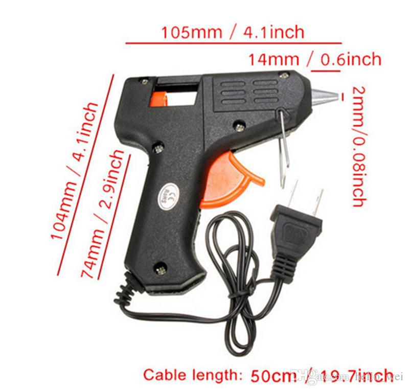 20W 110v-240v 7mm Palillos de pegamento Calefacción eléctrica Hot Melt Glue Gun Sticks Trigger Art Craft Repair Tool Negro EE. UU. Plug