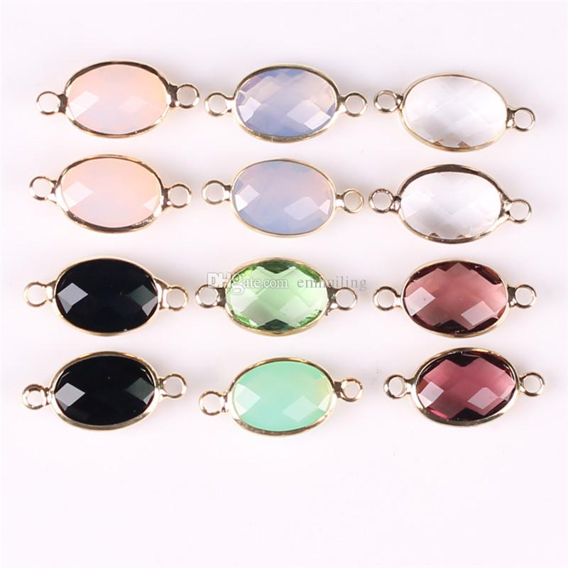 Top Quality Mix Semi-precious Pink Rose Quartz Black Onyx Faceted Oval Gemstone Pendant Connectors Crystal DIY Making for Necklace Bracelet