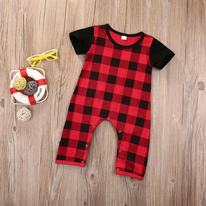 Yenidoğan Bebek Giysileri Ekose Romper Takım Bebek Çocuk Boy Giyim Toddler Kıyafet Rahat Tulum Pamuk Onesies Infantial Bodysuit Çocuk Cos