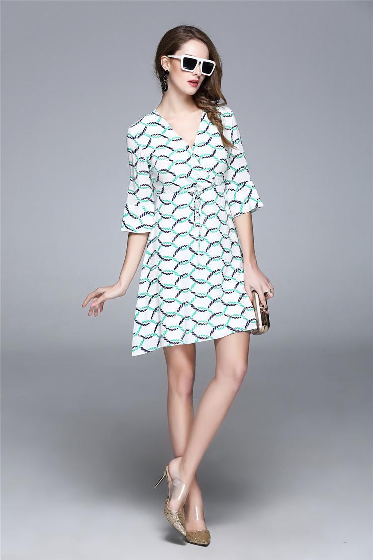 Women Boho Dress Fashion Sexy Elegant Short White Black Striped ...