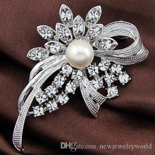 Удивительные Diamante И Жемчужина Цветок Брошь Для Свадьбы Изысканный Леди Cotume Булавки Брошь Бутик Булавки Броши