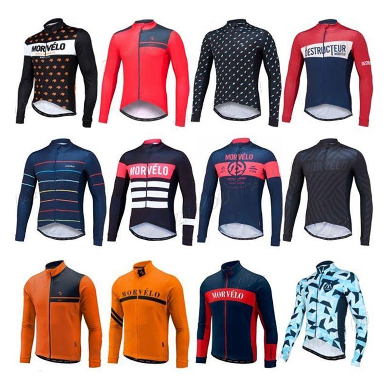 2017 Morvelo Cycling Jerseys Set Long Sleeves Autumn Winter Thermal Fleece  MTB Ropa Millot For Men Women Size XS 4XL Online T Shirts Padded Cycling  Shorts ... b51b1bdb1
