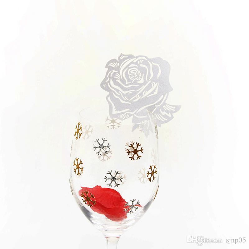 Rosa Láser Etiqueta de etiqueta de lugar Tarjeta de perla Papel Copa de vino copa Nombre Tarjeta de lugar Decoración de mesa de boda Suministros para fiestas